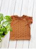 t-shirt broderie bruin